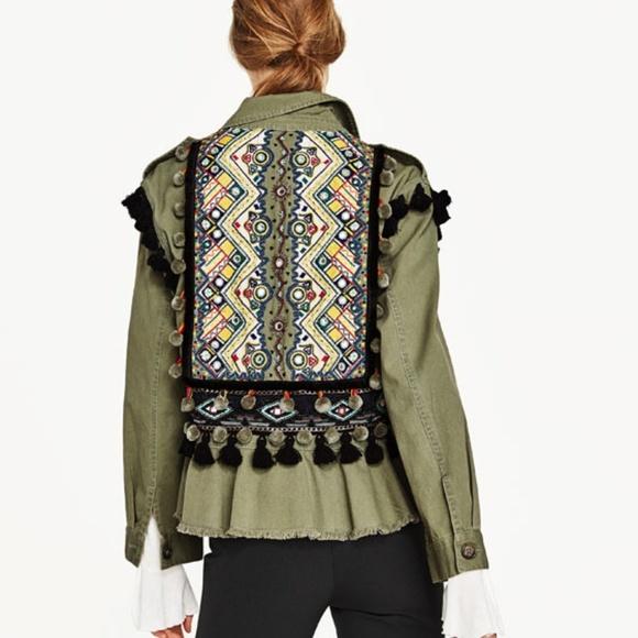 Zara Jackets Coats Nwt Khaki Embroidered Pom Pom Parka Jacket